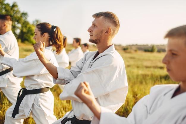Karate-gruppe zum training im sommerfeld