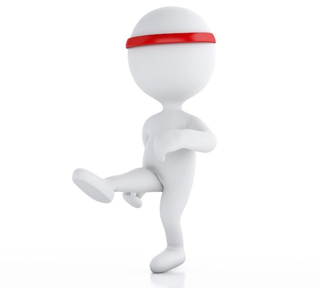 Karate kämpfer der weißen leute 3d. sport-konzept