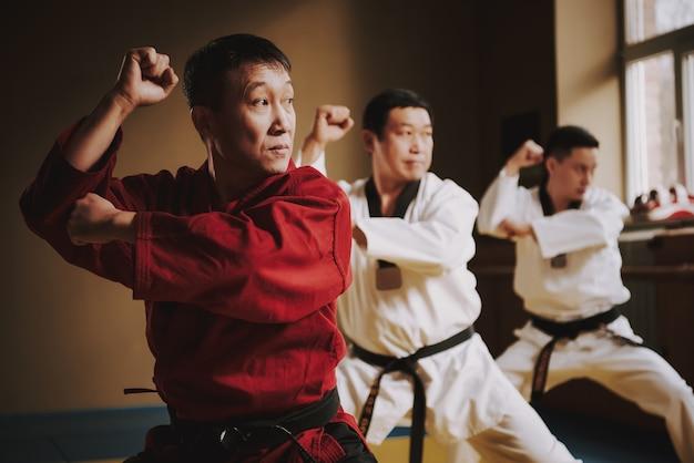 Karateunterricht bei einem erfahrenen lehrer in der halle.