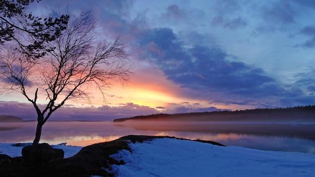 Karelia wintersonnenuntergangfoto des weißen meeres am abend