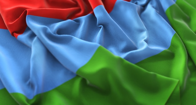 Karelien-flagge gekräuselt schön winken makro nahaufnahme schuss