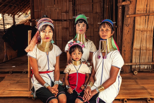 Karen long neck villages, provinz chiang rai, nordthailand.