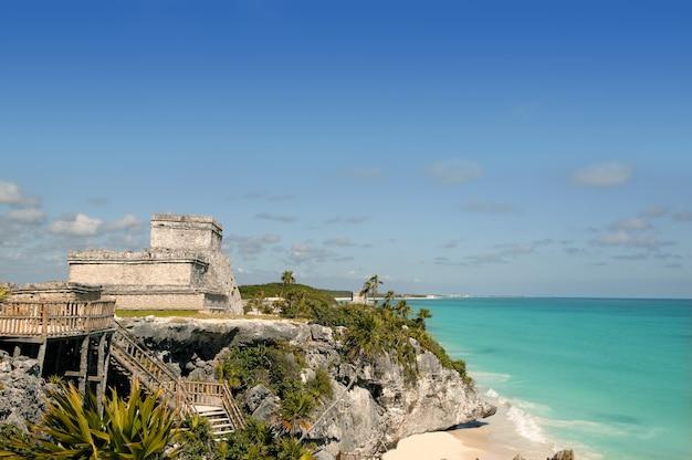 Karibische mayaruinen des blauen türkises tulum