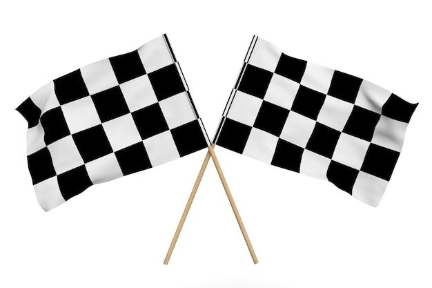 Karierte rennflaggen auf weißem hintergrund