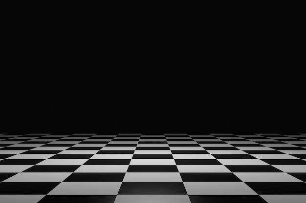 Karierter bodenbelag und abstrakter produkthintergrund auf einem dunklen raumsockel oder einem bühnenpodium mit hintergrundanzeige. 3d-rendering.