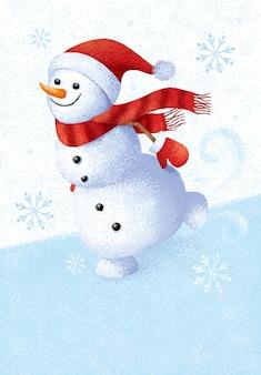 Karikatur malen illustration von hallo winter mit schneemann, schneeflocke, eis und schnee