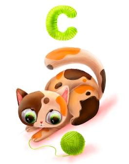 Karikatur niedliche katze mit alphabetbuchstaben 5k
