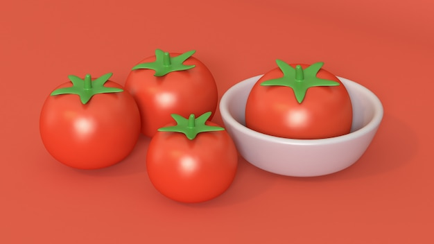 Karikaturart der tomate 3d mit schale 3d übertragen