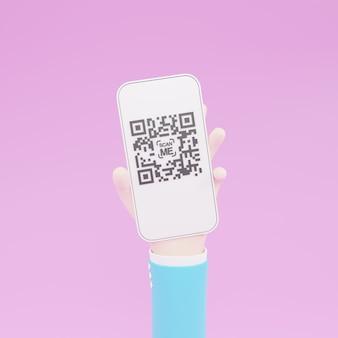 Karikaturhand, die mobiles smartphone mit scan-qr-code hält. scannen von qr-code und online-zahlung, geldüberweisung. elektronische, digitale technologie, barcode-3d-darstellung