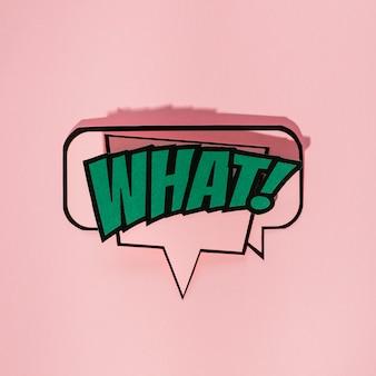Karikaturspracheluftblase mit welchem ausdrucktext gegen rosa hintergrund