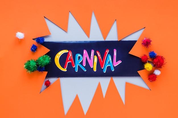 Karnevalspapierausschnitt mit bunten pompons