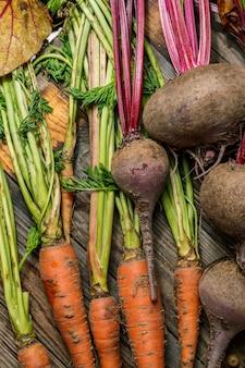 Karotten und rüben mit ihren stielen