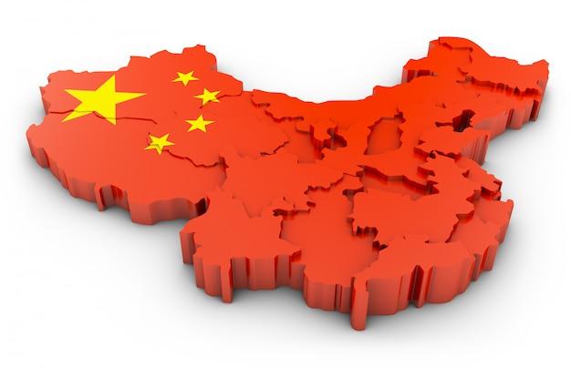 Karte 3d von china auf einem weißen hintergrund. 3d-rendering.