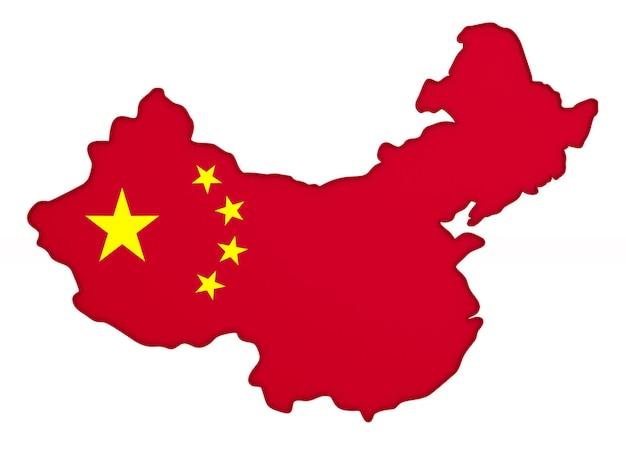 Karte china auf weiß