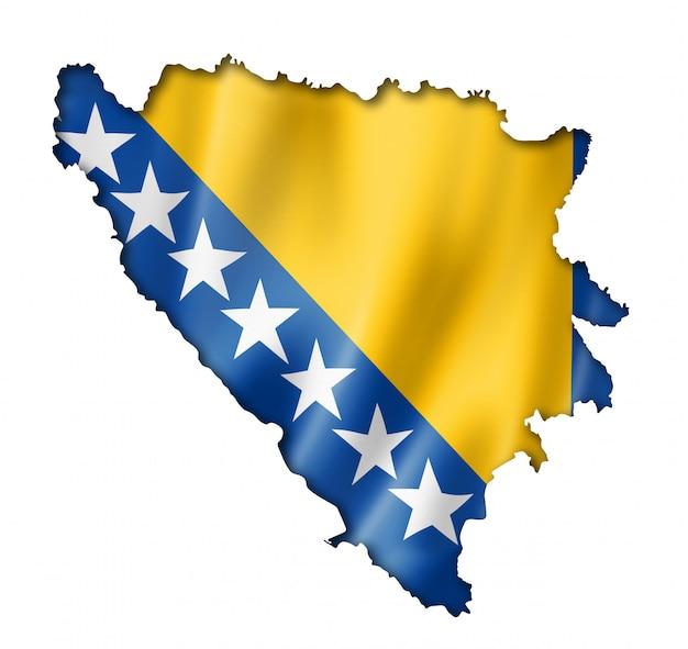 Karte der flagge von bosnien und herzegowina
