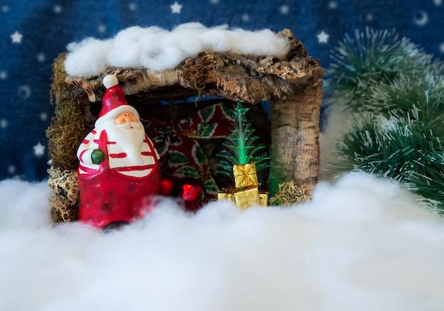 Karte der frohen weihnachten mit abbildung von weihnachtsmann und von schnee