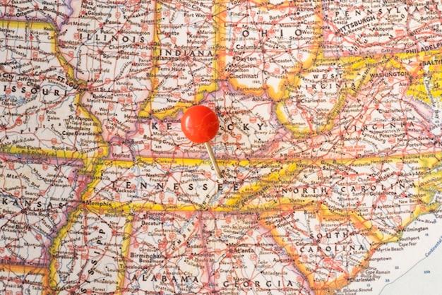 Karte der vereinigten staaten von amerika und roter punkt