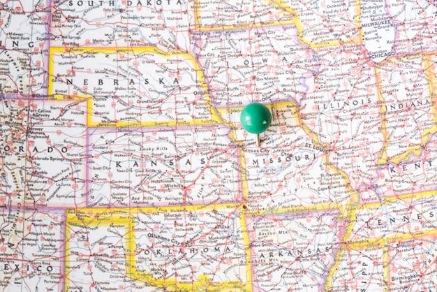 Karte und punkt der vereinigten staaten von amerika