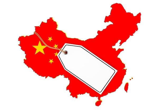 Karte von china mit flagge und leerem sale-tag auf weißem hintergrund. 3d-rendering