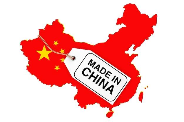 Karte von china mit flagge und made in china sale-tag auf weißem hintergrund. 3d-rendering