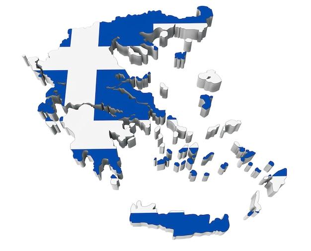 Karte von griechenland in den farben der griechischen flagge auf weißem hintergrund