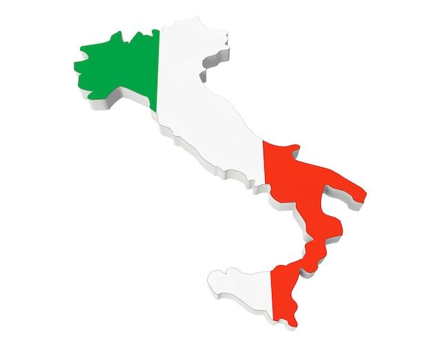 Karte von italien in den farben der italienischen flagge auf weißem hintergrund