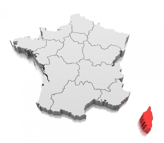 Karte von korsika, frankreich