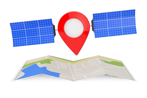 Karte-zeiger-pin als satellit über gefaltete abstrakte navigationskarte auf weißem hintergrund. 3d-rendering
