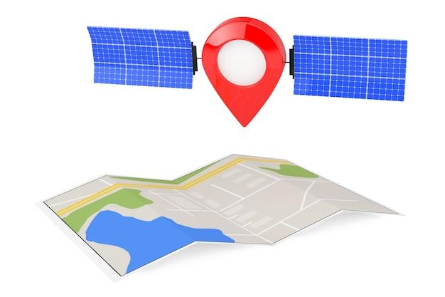 Karte-zeiger-pin als satellit über gefaltete abstrakte navigationskarte auf weißem hintergrund. 3d-rendering Premium Fotos