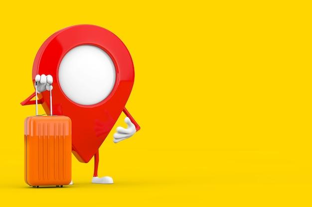 Karte-zeiger-pin-charakter-maskottchen mit orange reise-koffer auf einem gelben hintergrund. 3d-rendering