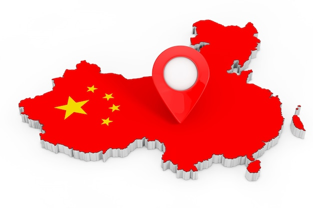 Karte-zeiger-pin über china-karte mit flagge auf weißem hintergrund. 3d-rendering