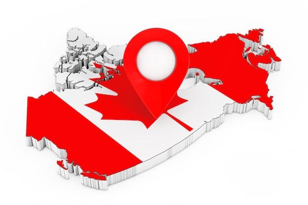 Karte-zeiger-pin über karte mit kanadischer flagge auf weißem hintergrund. 3d-rendering