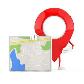 Karten-zeiger-pin-charakter-maskottchen mit abstrakter plan-karte auf weißem hintergrund. 3d-rendering