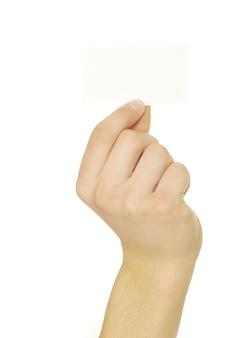 Kartenrohling in einer hand lokalisiert auf weiß
