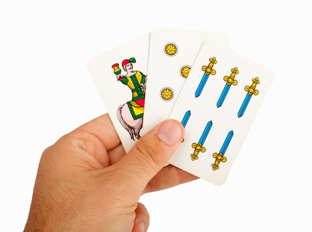 Kartenspiel mit neapolitanischen karten.