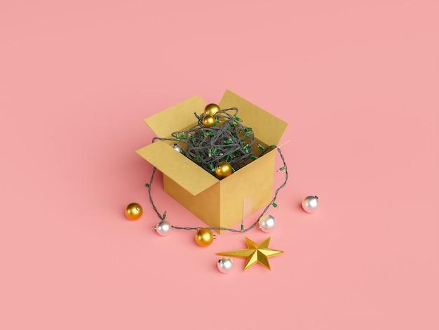 Karton gefüllt mit verworrenen weihnachtslichtern und ornamenten
