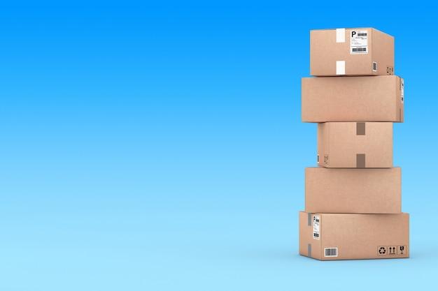 Karton-paket-boxen übereinander auf blauem grund gestapelt. 3d-rendering