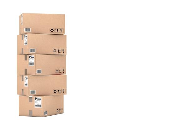 Karton-paket-boxen übereinander auf weißem hintergrund gestapelt. 3d-rendering
