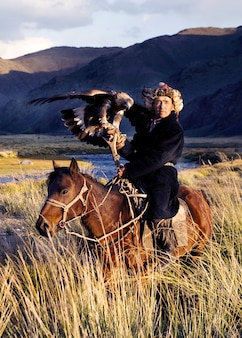 Kasachische männer jagen traditionell füchse und wölfe mit ausgebildeten steinadlern. olgei, west-mongolei.