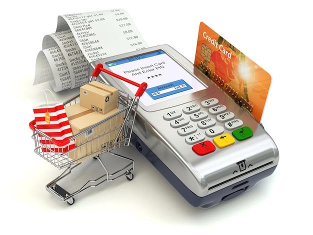 Kassenterminal mit kreditkarte und warenkorb und tasche mit einkäufen