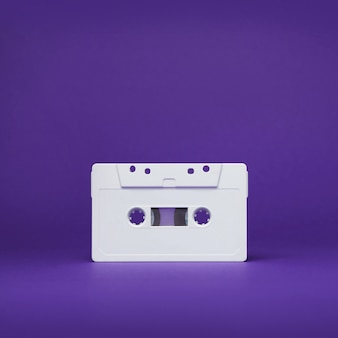 Kassette. vintage weiße audio-kassettenhahn. alte kassette.
