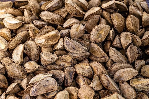 Kastanien-textur, paranüsse, wir amazonianer in der weltküche verwendet