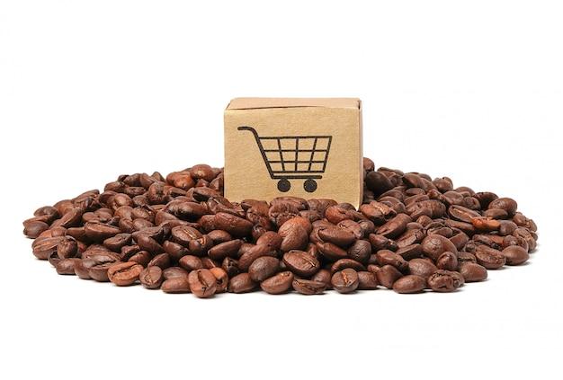 Kasten mit warenkorblogosymbol auf kaffeebohnen.
