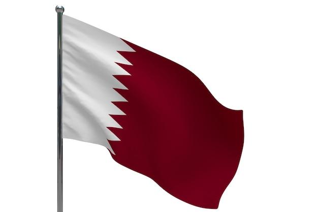 Katar flagge auf der pole. fahnenmast aus metall. nationalflagge von katar 3d-illustration auf weiß