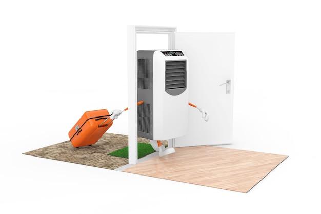 Kauf von haushaltsgeräten-konzept. tragbare mobile raumklimaanlage als charakterperson mit koffer kommt durch die türen zum haus auf weißem hintergrund. 3d-rendering