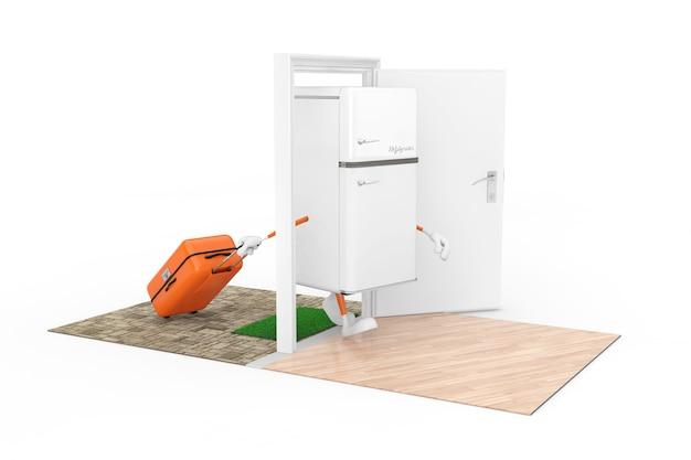 Kauf von haushaltsgeräten-konzept. weißer moderner kühlschrank als charakter-person mit einem koffer kommt durch die türen zum haus auf weißem hintergrund. 3d-rendering