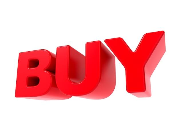 Kaufen - roter 3d-text. auf weißem hintergrund isoliert.