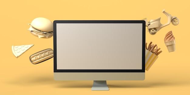 Kaufen sie lebensmittel online mit dem computer zum mitnehmen lieferung hot dog pizza hamburger pommes junk food textfreiraum