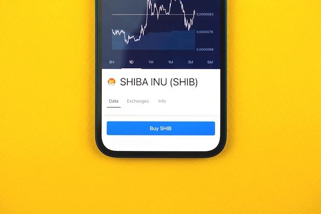 Kaufen sie shiba inu shib-kryptowährung, handy-app mit schaltfläche, konzept des online-handels, investition und austausch mit smartphone, foto von oben auf dem schreibtisch des geschäftsbüros