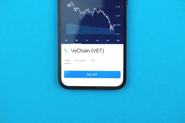 Kaufen sie vechain vet-kryptowährung, handy-app mit schaltfläche, konzept des online-handels, investitionen und münzaustausch mit smartphone, finanzen, foto von oben auf dem schreibtisch